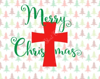 Merry Christmas Curved Cross SVG file | Christ in Christmas| Jesus is the reason for the season| Christmas shirt design | AI eps silhouette