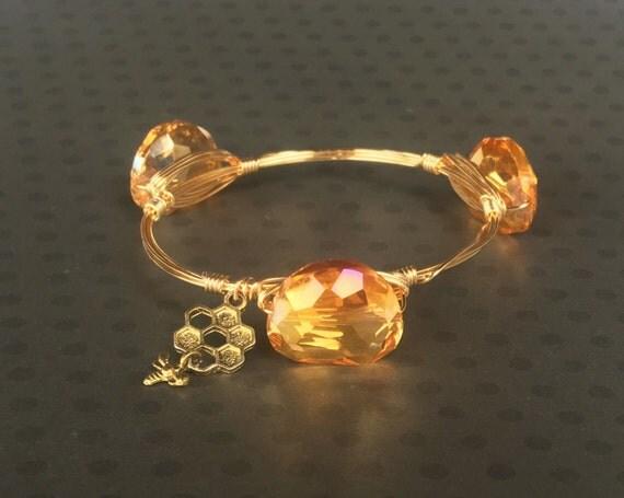 Clearance Sale, Orange bangle bracelet, Wire wrapped bangle, handmade bangle, bridesmaid gift, November birthstone, faceted nugget