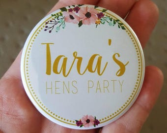 Personalised Classy Gold Hens Party Badge
