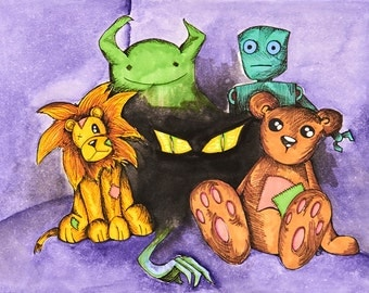 Original Drawing Color Wash Toy Monsters 8.5 x 11 Print