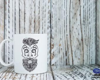 Day of the Dead Coffee Mug, Sugar Skull Coffee mug, El Dia De Los Muertos Coffee Mug, Rockabilly Coffee Mug, Skull Art, Halloween Coffee Mug