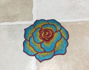 Blue&Red Flower Sew On Patch