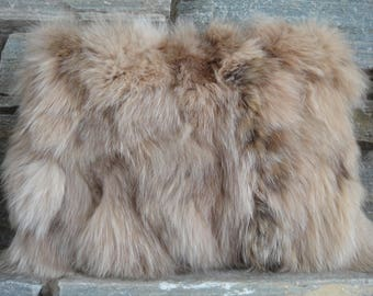 Real Fox Fur Pillow with Satin Backing