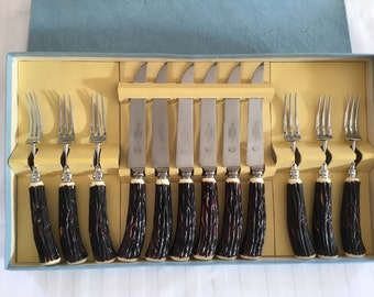 Vintage 1960's steak knives and fork set