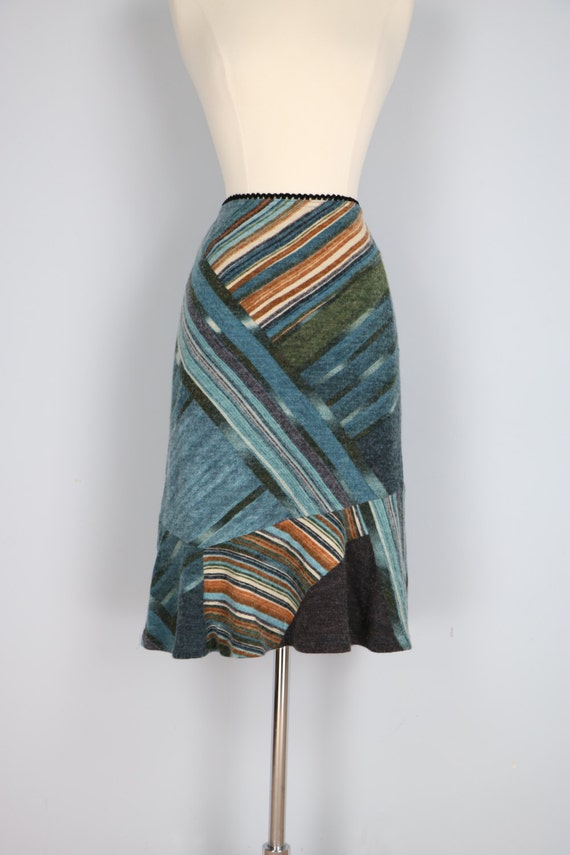 Asymmetrical Boho Vintage Striped Patchwork Design Wool Pencil Skirt With Ruffle Hem Elastic Waist Blue Green Brown