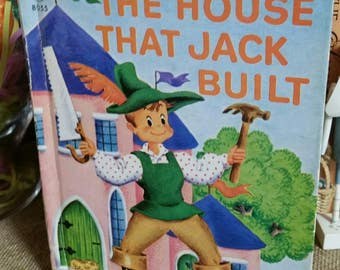 The House that Jack Built Illustrated by Tony Rice/Rand McNally Junior Elf Book/Vintage 1942 Childrens Book/.29 Cent Edition/Nursery Decor