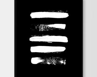 Paint strokes wall art, Printable Artwork, Brush Artwork, Brushstroke Art, Brush Stroke Paint,Contemporary Art, Black and White Abstract Art