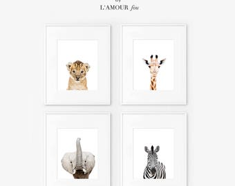 Set of 4 Safari nursery decor, Lion Print, Giraffe Print, Elephant Print, Zebra Print, Safari nursery prints, Safari Nursery Printable