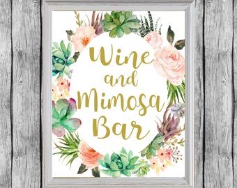 Wine And Mimosa Bar Sign. Bridal Shower Succulent Mimosa Bar Sign.  Printable Bridal Shower Decor. Instant Download