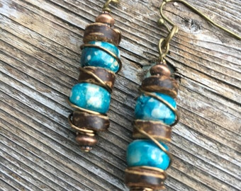 Boho Earrings, Hippie Earrings, Unique Earrings, Blue Earrings, Beach Earrings, Earrings, Dangle Earrings