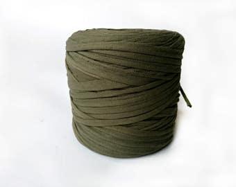 Army green T-shirt yarn, recycled t shirt yarn, tshirt yarn, recycled cotton yarn, jersey yarn, tricot yarn, yarn rugs, bulk yarn