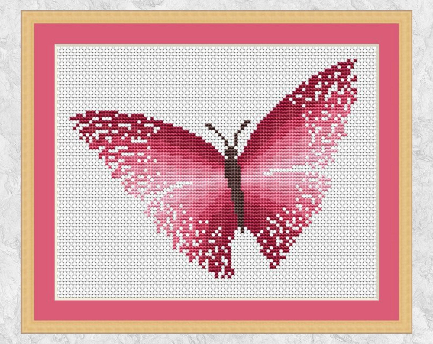 Pink Butterfly Cross Stitch Pattern Printable Modern Counted