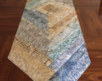Quilted Table Runner Robert Kaufman Sound of the Woods Gray/Blue/Brown