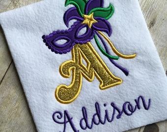 Girls or Baby Girls Mardi Gras Alphabet Mask Applique Embroidery Shirt /Onesie