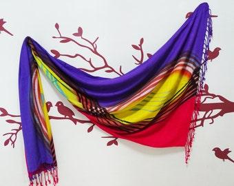 SALE! Stylish Women Scarf, Elegant Winter Shawl Many Ways Scarves Hijab Purple Woolen & Viscose Stole Fashion Women Neck Wrap Scarf SF480