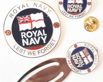 Royal Navy Full Set Commemorative Enamel Coin, Enamel Badge and Bookmark
