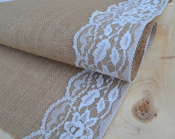 Ivory Lace and Burlap Table Runner