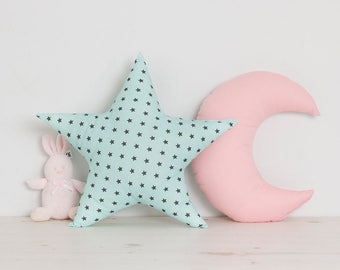 Baby girl Nursery Star and Moon cushions set, cute pastel girl room pillows in pink, teal, blue