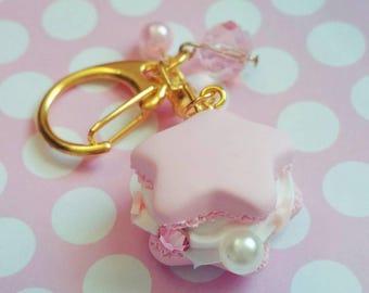 Sailor Moon Inspired Magical Girl Macaron Bag Charm Pink Star