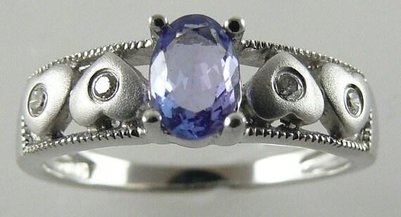 Tanzanite 0.43ct Blue Ring 14k White Gold with Diamonds 0.05ct