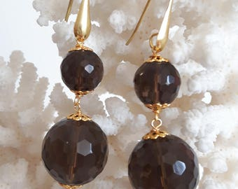 Gemstone earrings smoky quartz and Silver 925