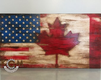 Distressed us flag etsy for Painted american flag wall art
