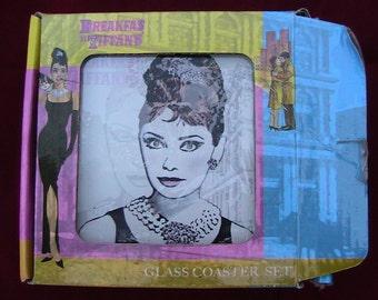 "VINTAGE  ""Breakfast at Tiffany's"" Audry Hepburn Coasters - Dead Stock"