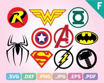 Super Heroes SVG Files, Super Heroes PNG Cut Files, Superheroes SVG Files, Avengers Pdf File, Super Hero Emblem Logo Svg, Instant Download