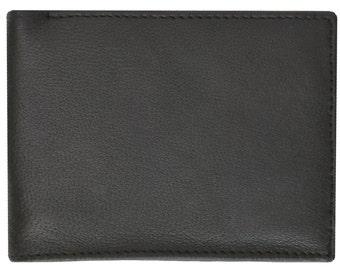 Mens Leather Change Pocket Bifold Wallet Black And Brown 1150