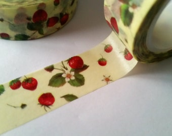 Summer Strawberries on Yellow Washi Tape