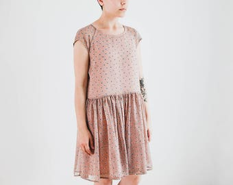 Chiffon Summer Dress with Short Sleeves, Rabbit Print Gathered Dress, Pale Pink Dress