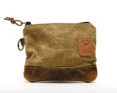 Waxed Canvas Zippered Golf Valuables Field Pouch in Tan personalized monogrammed