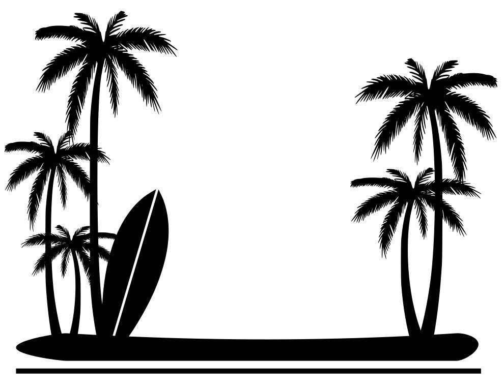 Palm Tree And Surfboard Border Svg File From