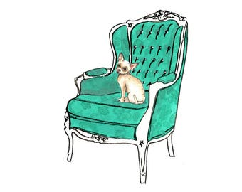 Chihuahua on Luxury Chair: Limited Edition Digital Print A4