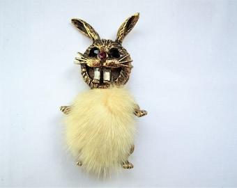 Vintage fur rabbit brooch, 1960s