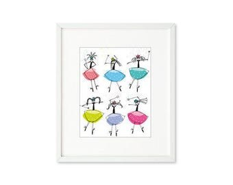 Princess Magic - single print, dancing princesses, magic wands, cheerful, contemporary graphic, wall art for children, home décor