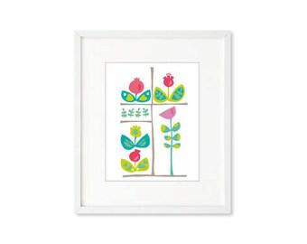 Floral Grid - single print, contemporary graphic, flower stems, modern botanical, modern, wall art, home décor
