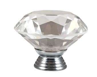 "Crystal Glass Diamond Shape 1.5"", 40mm (larger one) Drawer, Door, Cabinet or Dresser Knob Pull - C1"