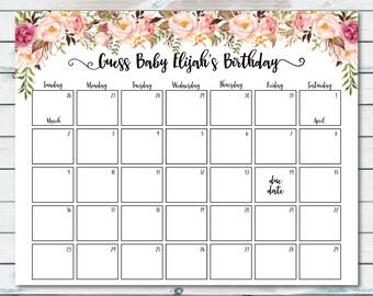 Floral Baby Due Date Prediction Calendar Printable, Boho Baby Shower Due Date Calendar, Printable Baby Shower Birthday Prediction Calendar