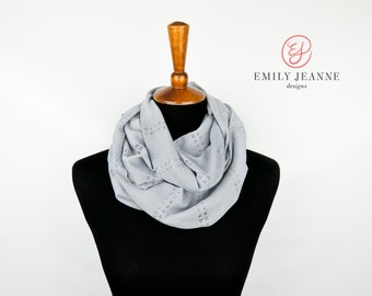 Delicate Double Loop Fashion Infinity Scarf in Feathery Lightweight Gray Eyelet Sweater Knit