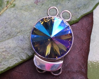 RESERVED...Swarovski Crystal Sterling Silver Box Clasp