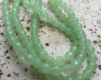 Faceted Green Chalcedony Beads