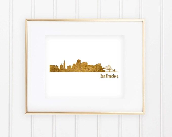 Skyline of San Francisco - Real Gold Foil Print