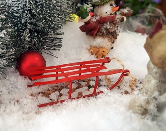 Miniature Red Metal Sled