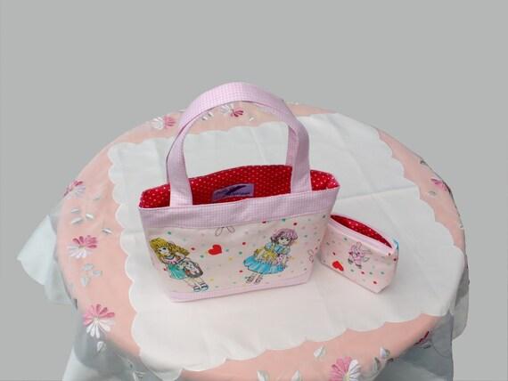 gift for girls - girls handbag and purse, mini tote bag, kids handbag with interior zip pocket - pink dolls
