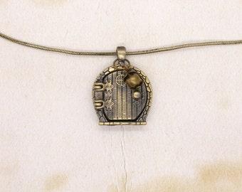 Hobbit Fairy Door Necklace Locket Pendant Brass Bronze Snake Chain