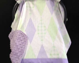Car Seat Canopy/Purple, Green Diamonds/ Infant car seat cover
