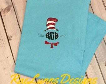 Dr. Seuss Teacher Shirt. PERSONALIZED. Monogrammed. Cat and the Hat T-Shirt. Teacher Gift. Glitter Initials. Initialed Ladies Teacher Shirt.