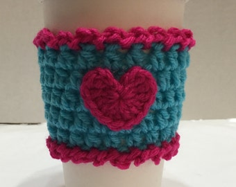 Heart Coffee Sleeve, Coffee Cozy Heart, Crocheted Coffee Cozy, Coffee Sleeve, To-Go Cup Cozy