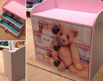 Handmade small chest of drawers with a bear Jewelery box Desk organiser Commode Storage commode